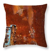 Blue On Rust Throw Pillow