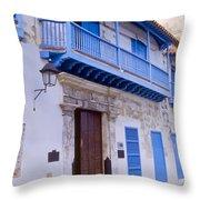 Blue Trim On White Building Throw Pillow