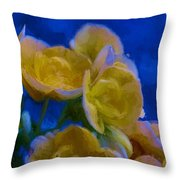 Yellow On Blue Throw Pillow