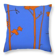 Blue Orange Tree Throw Pillow
