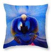 Blue Orchid Heart Throw Pillow