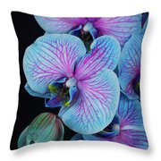 Blue Orchid On Black Throw Pillow