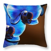 Blue Orchids Throw Pillow
