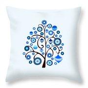Blue Ornaments Throw Pillow
