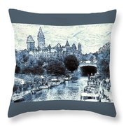 Blue Ottawa Skyline - Water Color Throw Pillow