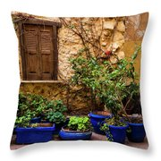 Blue-painted Plant Pots Throw Pillow
