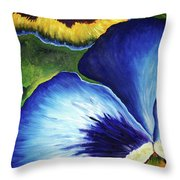 Blue Pansies  Throw Pillow