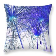 Blue Papyrus Throw Pillow