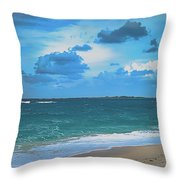 Blue Paradise, Scenic Ocean View From The Bahamas Throw Pillow
