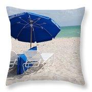 Blue Paradise Umbrella Throw Pillow