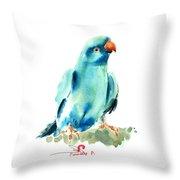 Blue Parrot Bird Throw Pillow