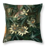 Blue Passion Flower For The  Temple Of Flora By Robert Thornton Throw Pillow
