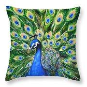 Blue Peacock Throw Pillow
