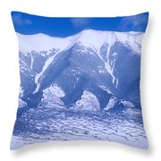 Blue Peaks Throw Pillow