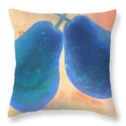 Blue Pears On Soft Peach Throw Pillow