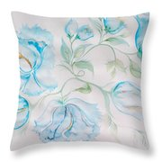 Blue Peonies Throw Pillow