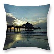 Blue Pier 60 Sunset Throw Pillow