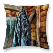 Blue Plaid Jacket In Cabin Throw Pillow by Susan Savad