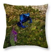 Blue Poison Arrow Frog Throw Pillow