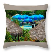 Blue Pool Umbrellas Throw Pillow