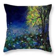 Blue Poppies And Diasies 67 Throw Pillow