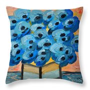 Blue Poppies In Square Vase  Throw Pillow