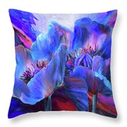 Blue Poppies On Red Throw Pillow