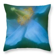 Blue Poppy 5 Throw Pillow