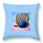 Blue Pottery With Flowers Throw Pillow