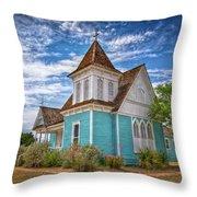 Blue Prairie Church Throw Pillow