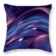Fractal Wave Blue Purple Throw Pillow