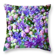 Blue Purple Hydrangea Flower Macro Art Throw Pillow