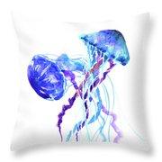 Blue Purple Jellyfish Artwork Design Throw Pillow