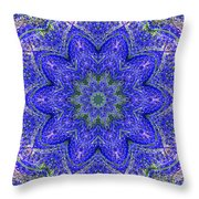 Blue Purple Lavender Floral Kaleidoscope Wall Art Print Throw Pillow