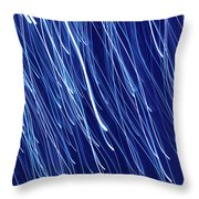Blue Rain Abstract Throw Pillow