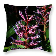 Blue Rain Bromeliad Throw Pillow