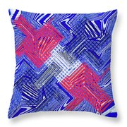 Blue Red And White Janca Abstract Panel Throw Pillow
