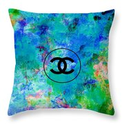Blue Red Black Chanel Logo Print Throw Pillow