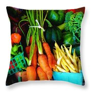 Blue Ribbon Harvest Throw Pillow