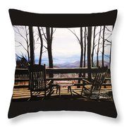 Blue Ridge Mountain Porch View Throw Pillow