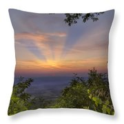 Blue Ridge Mountain Sunset Throw Pillow