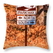 Blue Ridge Parkway Sign Throw Pillow