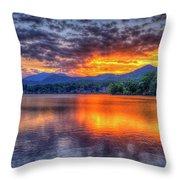 Blue Ridges Lake Junaluska Sunset Great Smoky Mountains Art Throw Pillow