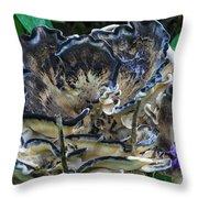 Blue Rimmed Fungus Throw Pillow