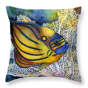Blue Ring Angelfish Throw Pillow