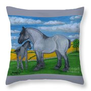 Blue Roan Mare With Her Colt Throw Pillow
