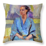 Blue Robe Throw Pillow