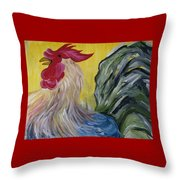 Blue Rooster Throw Pillow