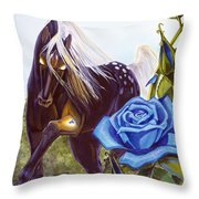 Blue Rose Unicorn Throw Pillow