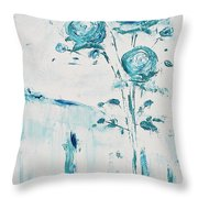 Blue Roses On A Table Throw Pillow